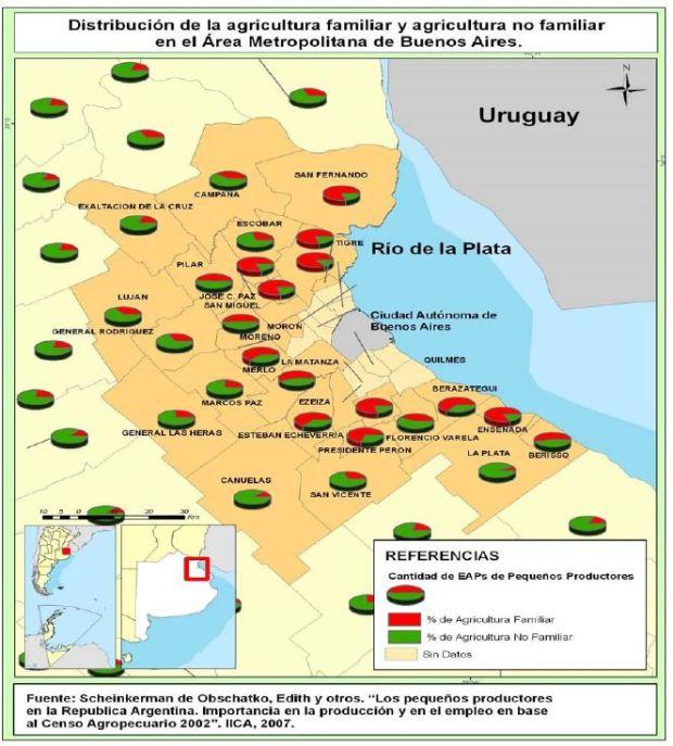 Distribution de l'agriculture des familles et autres dans l'agglomeration de Buenos Aires