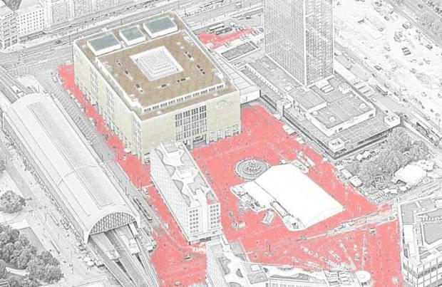Vue d'Alexanderplatz et Galleria Kaufhaus. Le rouge n'est pas la couleur reelle...