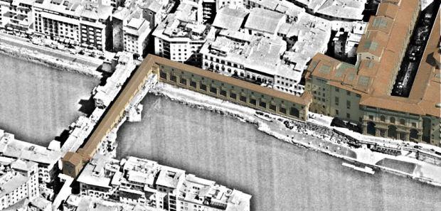 Le Corridor de Vasari, reliant les palais Vieux et Pitti