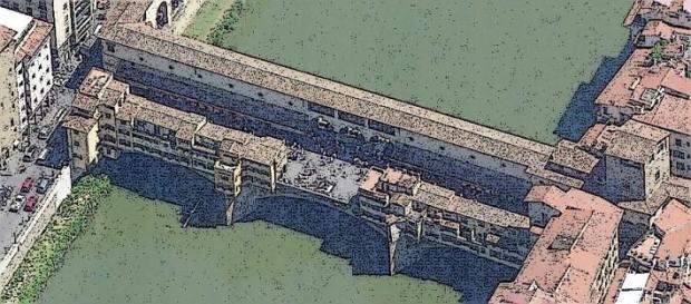 Vue du cote oposée. La place centrale sur le pont est visible