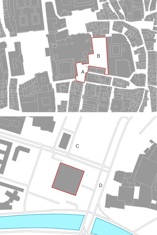 Deux euro-acres: sur l'image superieure, les places de Platerías (A) et la Quintana (B) a Saint- Jacques de Compostelle en Espagne, et sur l'image inferieure, la Nouvelle Gallerie Nationale de Berlin, a coté de l'eglise de Saint Mathieu et de la Postdamer Strasse.