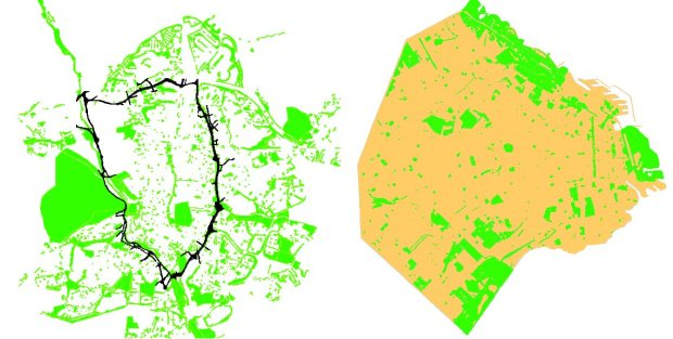 Espaces libres publiques selon les plans d'urbanisme. Madrid a gauche (noir, M30), Buenos Aires a droite