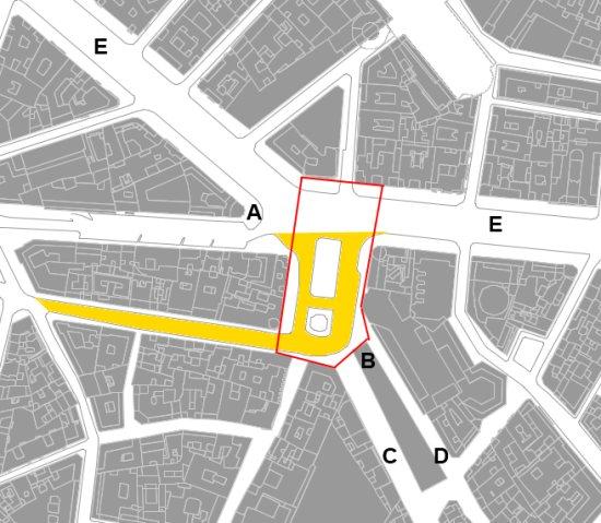 La place de Callao et la zone adjacente de Gran Vía mesurent un peu moins de 5.000 m2 (plus d'une acre, moins d'une demie hectare). La zone marquée en orange correspond a la partie recement recuperée pour les pietons.
