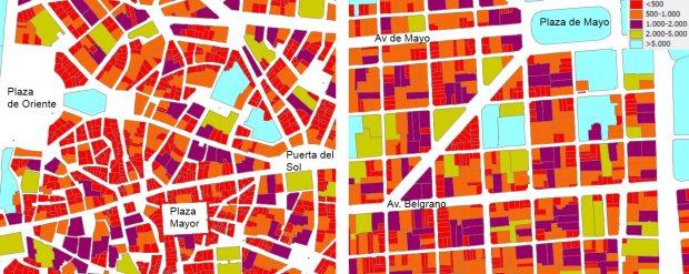Surface des parcelles du centre historique de Madrid (gauche) et du quartier de San Telmo a Buenos Aires