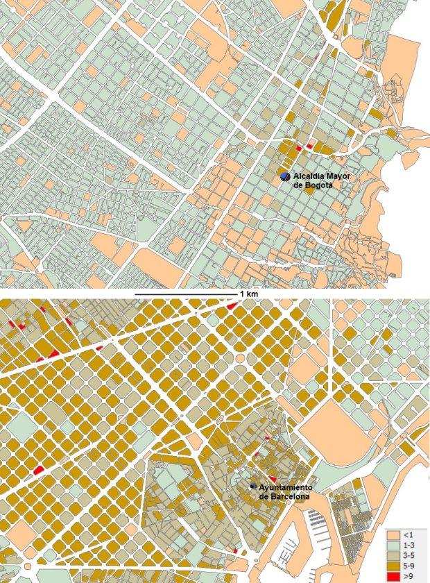 Densité par ilot aux centres de Barcelone et de Bogotá