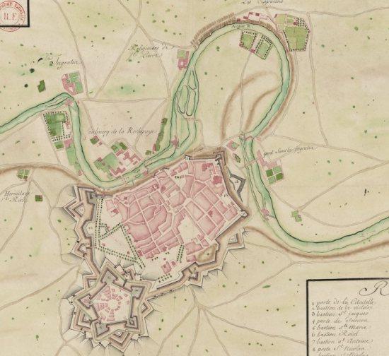 Pampleune au XVIIIeme siecle. La carte peut etre consultée sur gallica.bnf.fr, signature GED-4683