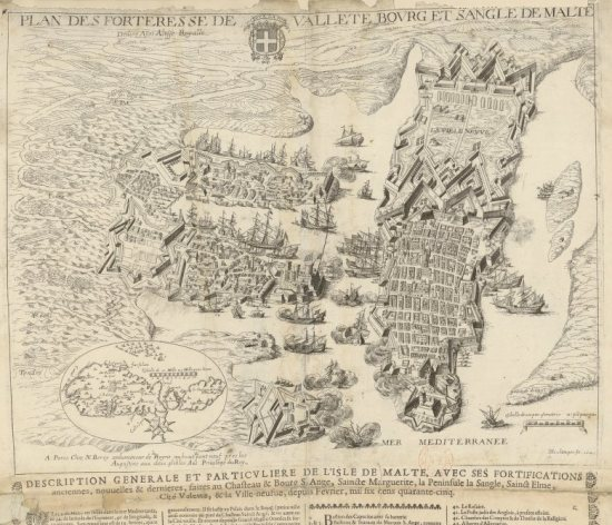 Plan des Forteresse de Vallete, bourg et sangle de Malte... H Boulange fe. 1645.  Gravure qui represente la ville au XVIIème siècle, qui peut etre consulté sur gallica.bnf.fr avec la signature GE C2362