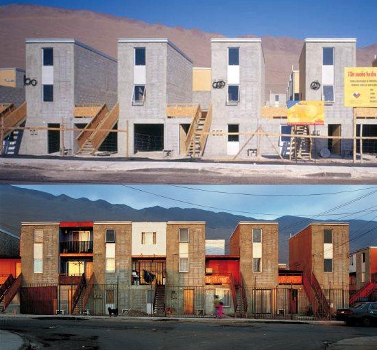 """Projet de l'agence chiliene Elemental. Partie superieure, les logements tels que livrés aux habitants (chaque """"L"""" comprend un logement en horizontal et  un logement de deux etages sur la partie superieure). L'image inferieure montre l'evolution un peu plus tard."""