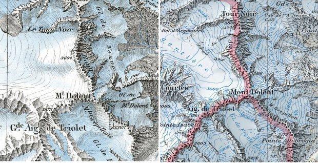 Mont Dolent, la triple frontiere entre la Suisse, la France et l'Italie. En 1938 (a gauche) et aujourd'hui. Les glaciers fondent un peu...