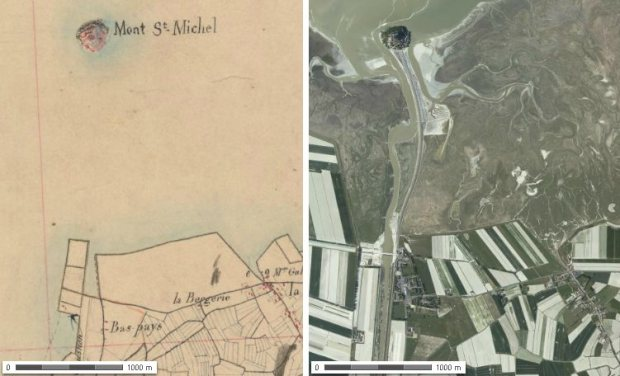 Le Mont-Saint-Michel vers la moitie du XIXeme siecle et aujourd'hui. Images de geoportail.fr