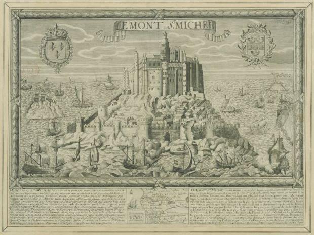 Mont-Saint-Michel, Jollain (1680-1690). L'image originale peut etre consulté sur Gallica.fr a l'adresse http://gallica.bnf.fr/ark:/12148/btv1b55004671p