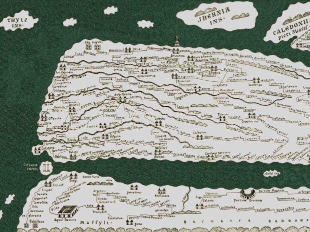 La feuille reconstruite de la peninsule iberique et du Maghreb. Gibraltar (colonnes d'Hercules), Lisbonne (Olissipo) ou ma region natale (autour de Brigantia) sont visibles...