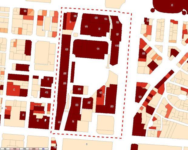 SHOB de bureaux par parcelle. Le chiffre montre pour certaines parcelles le nombre de locaux enregistrés comme bureaux.