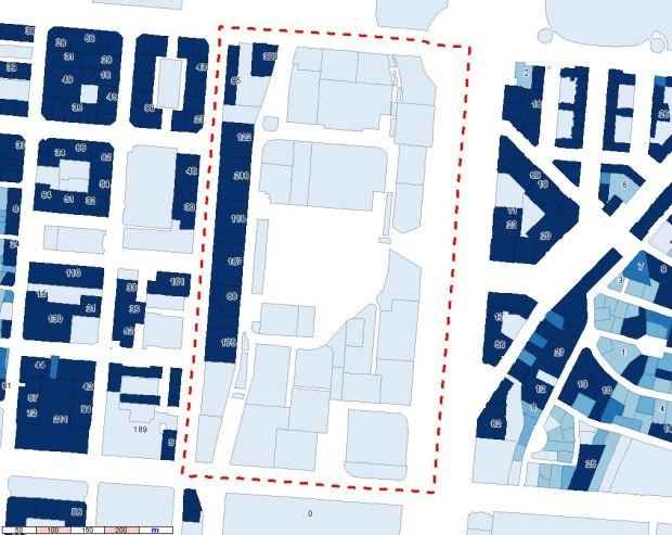 SHOB de logements par parcelle. Les chiffres montrent pour certaines parcelles le nombre de logements