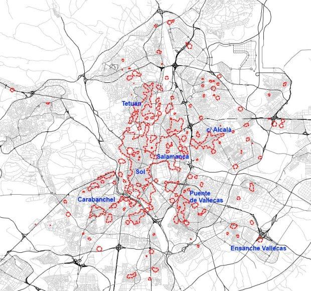 Zones avec les plus hautes densités commerciales (surface cadastrale) en 2013
