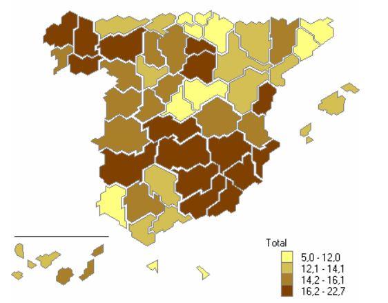 Pourcentage de logements vacants en 2011 en Espagne, par province