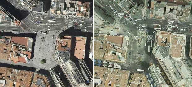 La place de Callao en 2009 (droite) et en 2006. L'un des trottoirs les plus empruntés de Madrid devient une grande esplanade pietonne