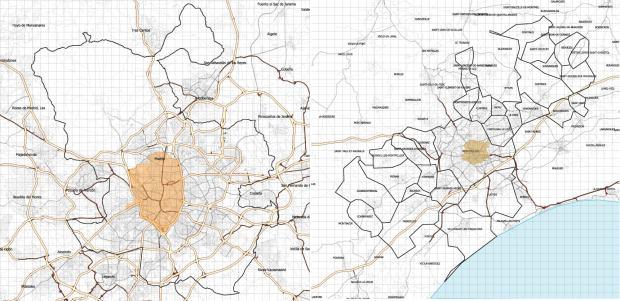 Madrid et Montpellier (commune et communes d'agglomeration, a la même echelle. Grille 1 km