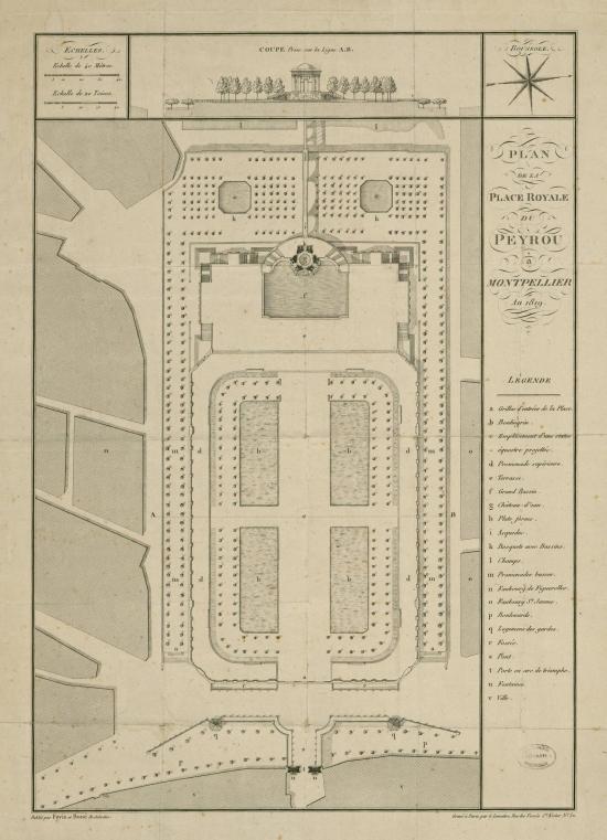Plan de la Place Royale du Peyrou-1819- Fovis+Boué. L'original peut etre vu sur www.gallica.fr