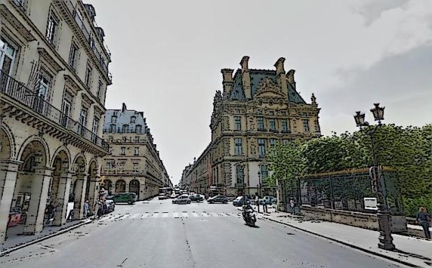 La fin du Palais du Louvre (droite) et le debut des Tuileries