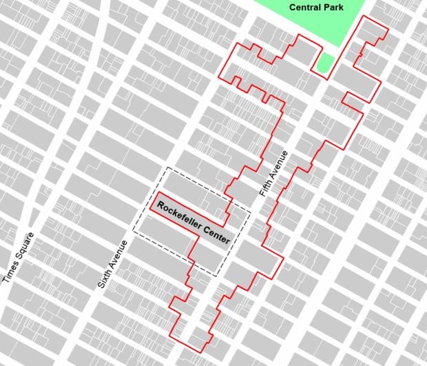 1,2 km de cinquième avenue. Le perimetre du BID est marqué en rouge
