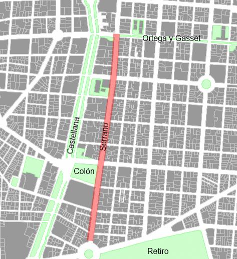1,3 km de centralité madrilene, avec 31 m de largeur