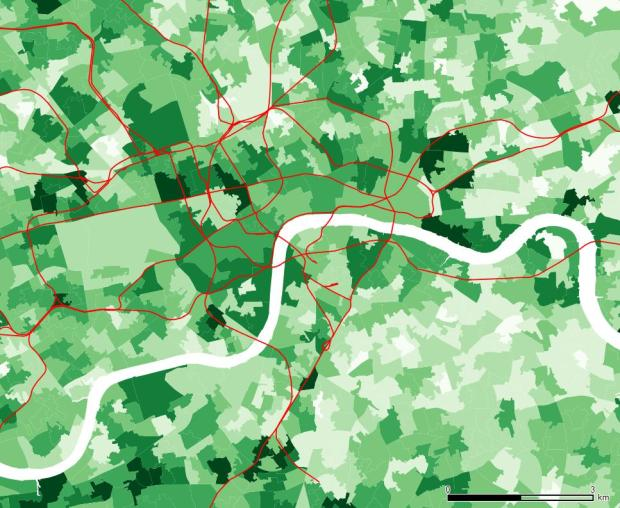 Sur le centre urbain, il y a une distribution plutot repartie. Whitehall et Belgravia montrent une proportion importante, mais il y a aussi des bons chiffres au sud de la Tamise, vers l'ouest.