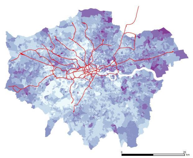 Personnes sans qualification a l'echelle de l'ensemble de Londres. L'Est montre une plus grande presence de personnes sans qualification, surtout vers le nord-est.