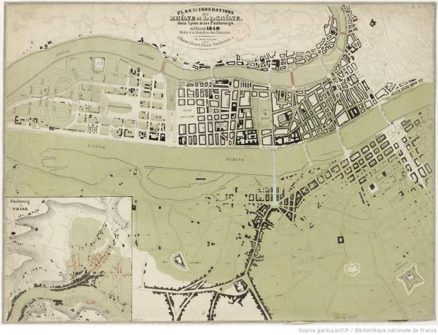 Crue de 1849 a Lyon. Image originale sur http://gallica.bnf.fr/ark:/12148/btv1b8443231b.r=innondation+lyon.langES