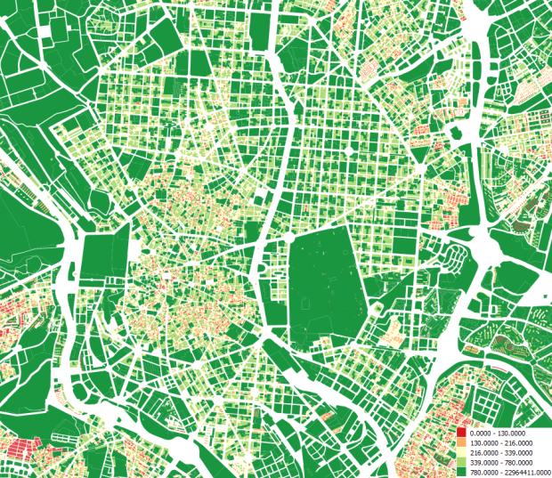 Surface des parcelles du centre de Madrid en m2