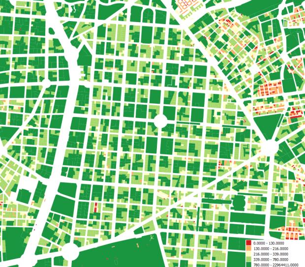 Surface des parcelles du barrio de Salamanca en m2