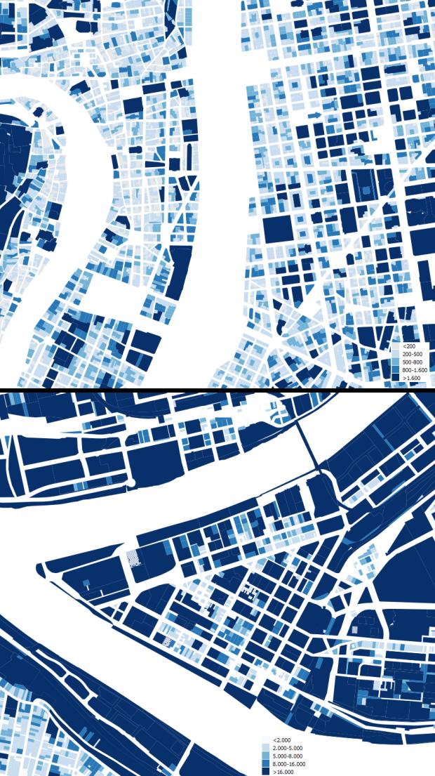 Centres urbains de Lyon et de Pittsburgh a la même echelle. Surface des parcelles en m2 pour Lyon et en pieds carrés pour Pittsburgh