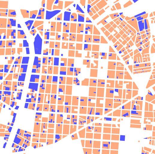 Usages principaux par parcelle dans le nouveau plan preliminaire: bleu activites, orange logement