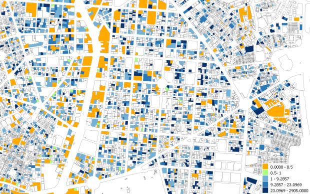 Barrio de Salamanca, Madrid. Quotient entre surfaces de logement et de bureaux selon sources cadastrales.