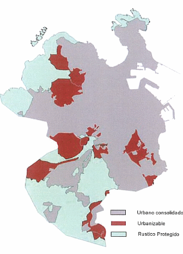 Nouveau plan d'urbanisme de La Corogne. Le sol d'expansion urbaine est marqué en rouge