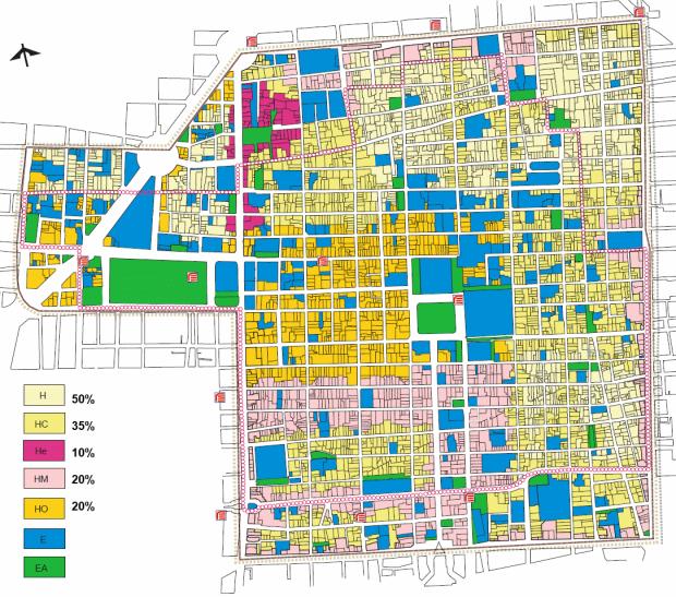 Programa Parcial de Desarrollo Urbano Centro Histórico del Programa Delegacional de Desarrollo Urbano para la Delegación Cuahtemoc. Zones du réglement et pourcentage minimal de surface batie a destination de logements.
