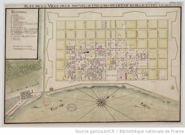 Carte de 1744 de Dheulland. La ville a déjà quelque chose de reel: des parcelles et des batiments, et la mesure des choses est mieux prise. Rien a voir avec l'orientation de projet.