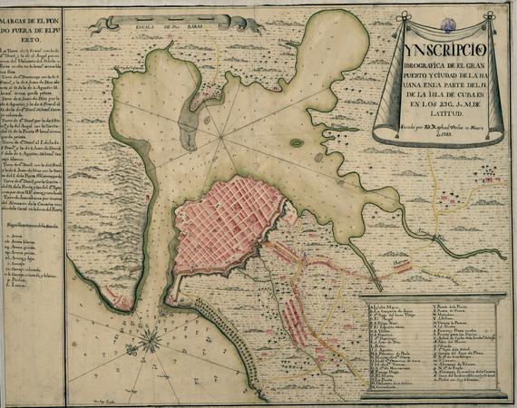 La Havane en 1743. La ville es largement tournée vers la baie, protegée par des remparts de la cote ouverte.