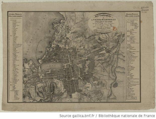 Marseille en 1836. En moins d'un siecle la ville a largement gagné en dimension.