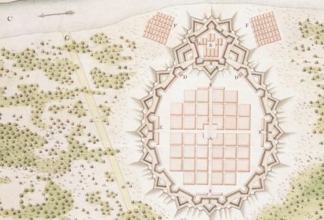 Le projet de la Nouvelle Orleans en 1718. Bien naif comme projet, la mesure des distances entre le fleuve et le lac Pontchartrain est bien loin de la realité, tout comme l'echelle relative de la ville.