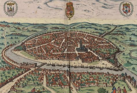 Seville en 1590. Une grande ville a l'epoque, avec des nombreux grands batiments.