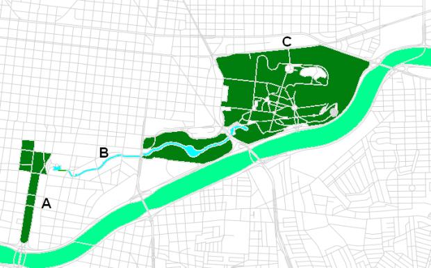 A- Macroplaza (centres gouvernementaux, musées d'art et d'histoire), B- Canal de Santa Lucía, C- Parque Fundidora