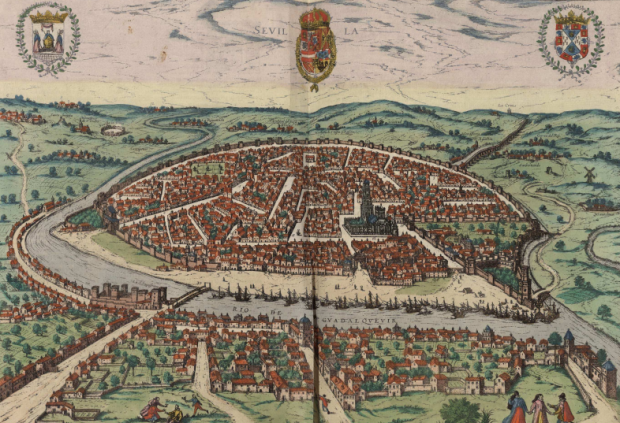 Seville en 1590, par Geord Brown. A la Bibliotheque Nationale d'Espagne