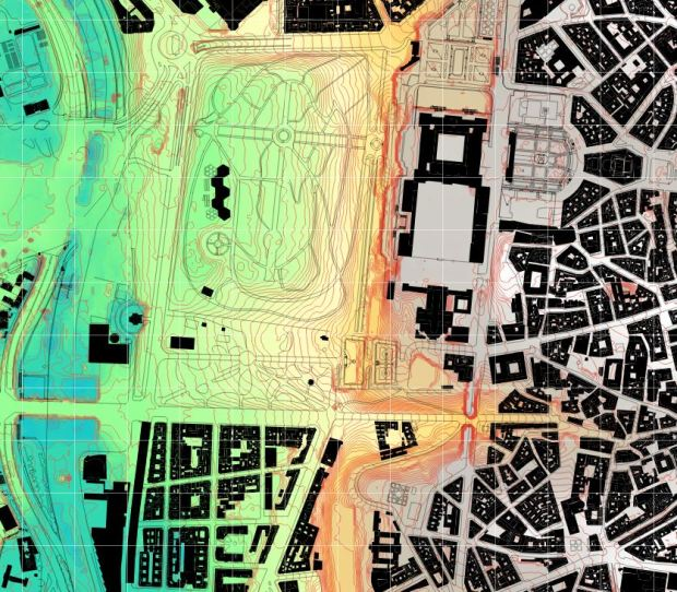 Carte avec des courbes de niveau a 1 m , et grille de référence de 100 m. La zone de la riviere n'est pas bien representée, sans doute la source provient d'un vol fait pedant des recents travaux.