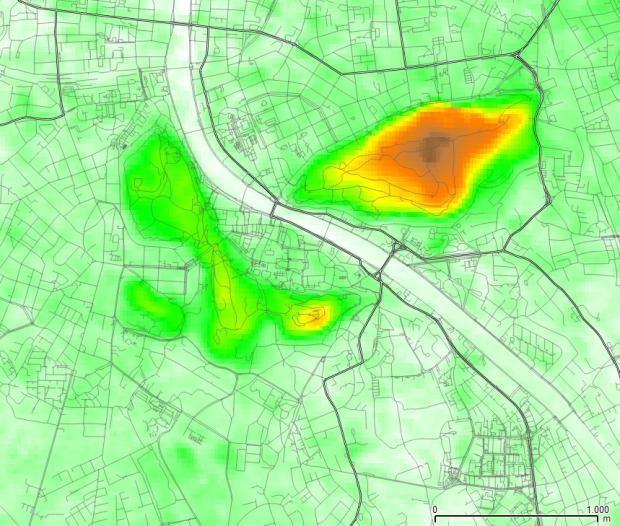 Les collines par rapport au centre ville (données altimetriques ASTER)