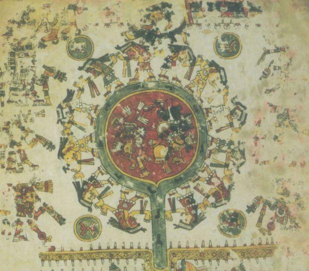 Venus comme l'etoile de l'aube, ancienne carte celeste du Mexique prehispanique, Codex Borgia (livre 3 du volume 2 de la publication).