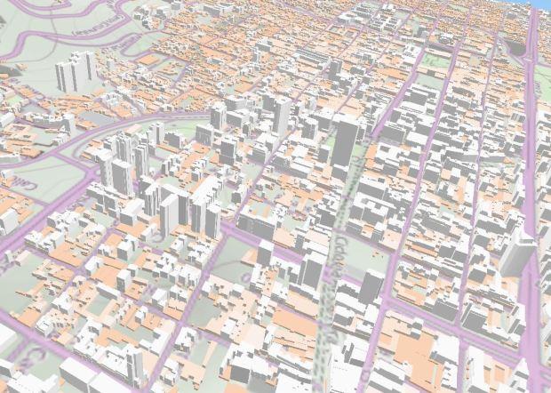 La vue du nord montre en premier les tours des zones d'affaires. On peut apprecier que c'est encore une ville en transition, avec des differences importantes d'hauteur.