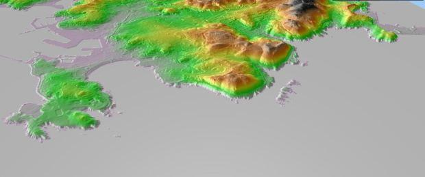 """Le relief, premiere echelle de """"grain"""" du territoire. La Corogne, d'apres des données altimetriques IGN-e"""