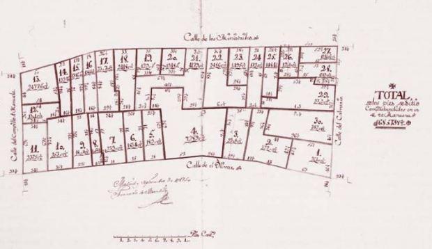 Une planche du plan de Madrid de 1749