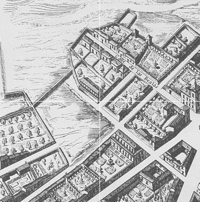 La carte de Texeira (1656) de Madrid. Une zone qui maintenant est nettement plus dense...